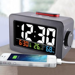 table ideas Canada - Gift Idea Bedside Wake Up Digital Alarm Clock with Thermometer Hygrometer Humidity Temperature Table Desk Clock Phone Charger