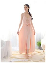 7f48f87eddc3f98 Женщины кружево атласное белье свадебное длинное ночное платье вышивка  ночные рубашки с длинным рукавом халат красивая домашняя одежда