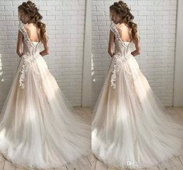 Cheap Girls Vintage Dresses Australia - Cheap Sexy Vintage Lace Satin Quinceanera Dresses For Girls Ball Plus Size Wedding Gowns Lace Top Appliques Beaded Pind Sleeves High Quality