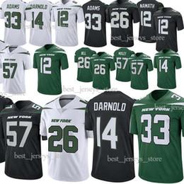 Vente en gros Jets 26 Maillots Le'Veon Bell New York 33 Jamal Adams 57 MOSLEY 14 Sam Darnold 12 Maillot Joe Namath de Football 2019