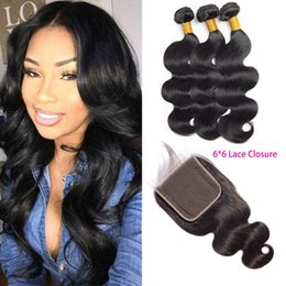 Wholesale Brazilian Virgin Hair Bundles With X6 Lace Closure Middle Three Free Part Body Wave Hair Products Wefts With Six By Six Closure Lace Size