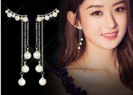 $enCountryForm.capitalKeyWord Australia - Korean temperament hypoallergenic sterling silver S925 earrings Long tassel pearl pendant Ladies exquisite gifts