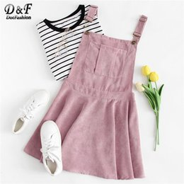 Pinafore Dresses NZ - Dotfashion Pink Pocket Front Zip Up Back Corduroy Pinafore Women Clothes Autumn New Casual Sleeveless Preppy Dress Q190511