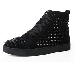 Black Flats Studs UK - Fashion Men Spike Stud leather casual shoes rivets sneaker lace up flat high top men casual outdoor men shoes red black blue