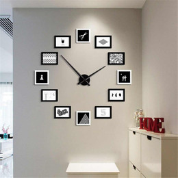 photo frames sets 2019 - 2019 12 Photo Frames DIY Wall Clock Modern Design Wood Photo Frame Clock Nordic Style Art Pictures Watch Home Decor chea