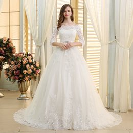 long sleeve rustic dresses Australia - 2019 Elegant Bateau Neck Wedding Dresses Lace Appliques Lace Up Back A Line 3 4 Long Sleeve Sweep Train Garden Rustic Bridal Gown 3906