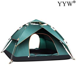open beach tent Australia - Outdoor 3-4 Person Windbreak Camping Tent Dual Layer Waterproof Up Open Anti Uv Tourist Tent For Outdoor Hiking Beach Travel