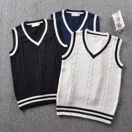 long knitted sleeveless cardigan Australia - British Preppy school girl Sleeveless Sweater Vest School Uniforms V-neck Japanese Boys And Girls Students Korean Knitted Vest SH190908