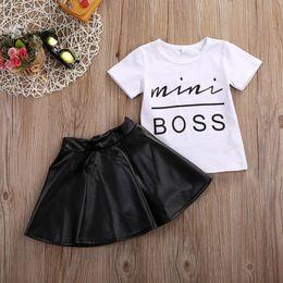 New T Shirt Mini Skirt Australia - New 2pcs Toddler Kids Girl Clothes Set Summer Short Sleeve Mini Boss T-shirt Tops + Leather Skirt Outfit Child Suit New
