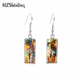 oil painting jewelry Australia - HZSHINLING New Fahion Square Fish Hook Stainless Steel Earrings Oil Painting You Never Walk Alone Fashion Earrings Jewelry