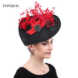 $enCountryForm.capitalKeyWord NZ - Red feather hats women party tea chapeau caps ladies elegant fascinators headwear hair clips kenducky derby church headpiece free shipping