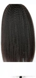 italian black hair UK - H African American Kinky Straight Lace Front Wig Italian Yaki Straight Human Hair Full Lace Wigs For Black Women 130 %
