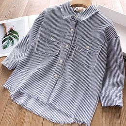 $enCountryForm.capitalKeyWord Australia - New stripe loose girls shirt tassels long sleeve kids shirt kids designer clothes girls fall clothes Tee Shirts kids clothes A6949