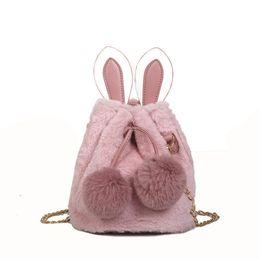 Women New Rabbit Ears Shoulder Bags Ladies Winter Faux Fur Handbag Girls  Bucket Crossbody Bag Chain Messenger Bag Bolsa Feminina 3186eb4d519a0