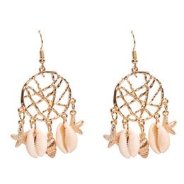 $enCountryForm.capitalKeyWord Australia - Dream Catcher Earrings Hook Earrings for Women Cowrie Shell Starfish Conch Faux Pearl Charm Hook Earrings Jewelry