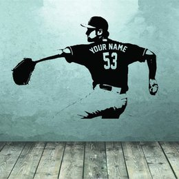 media player live NZ - Baseball player Wall art Decal sticker Choose Name number personalized home decor Wall Stickers For Kids Room Boy Bedroom
