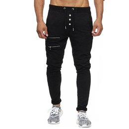 $enCountryForm.capitalKeyWord Australia - HOT 2018 outdoor slim fit joggers man gym sport elastic waist pants men's bodybuilding fitness two zipper trousers men