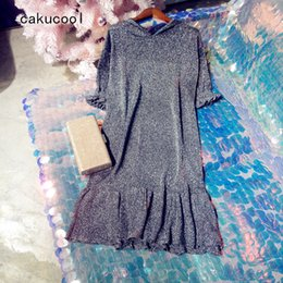 b3711d6c1a1b Cakucool Gold Lurex Dress Short Sleeve Summer Vestido Hooded Casual Silver  Thread Ruffles Shinny Super Thin Sexy Mini Dress