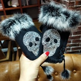 Suede glove men online shopping - Magic Fashion Winter Gloves Women Skull silvery Sequins Rabbit Fur Gloves Suede half finger Mittens Female Christmas