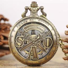 Swords Gifts NZ - Vintage Hollow Bronze Sword Art Online Engraved Analog Quartz Pocket Watch Pendant Chain Men Women Boy Girl Children Birthday Gift Clock
