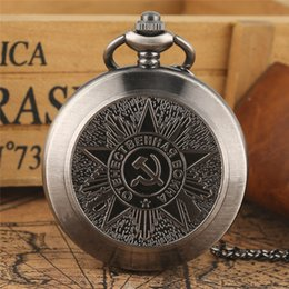 hammer sickle NZ - USSR Soviet Badges Sickle Hammer Quartz Pocket Watch Necklace Gray Chain Clock CCCP FOB Watch as Christmas Gifts for Men