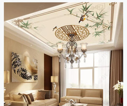 Kitchen Border Australia - 3D Zenith mural photo custom wallpaper interior decoration Chinese border green bamboo flowers and birds zenith ceiling background mural