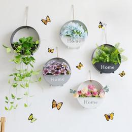 $enCountryForm.capitalKeyWord Australia - Fashion Wall Flower Hanging Plant Pot Wall Metal Planter Basket Indoor Garden Flower Pots Round Hook Rack Home