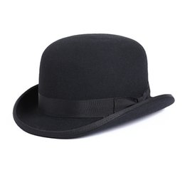 b84a3c11ce5a0f 100% Wool Men's Bailey Ofhollywood Fedora Hat For Gentleman Crushable  Hantom Dad Bowler Hat Luxury Billycock Hats Y19070503