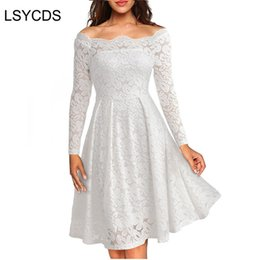$enCountryForm.capitalKeyWord Australia - Woman Dresses 2018 Long Sleeve Slash Neck Wedding Party Wear Casual A-line Sexy Red Black White Lace Dress Plus Size S-3xl J190710