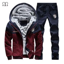 $enCountryForm.capitalKeyWord Australia - 2019 Warm Set Men New Sportswear Autumn Suit Clothes Tracksuits Zipper Fur Hooded Sweatshirt+Sweatpants Mens Sporting Track Suit