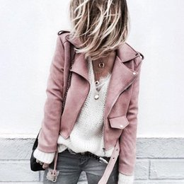 pink motorcycle jackets Australia - New Elegant Spring Autumn Zipper Basic Suede Jacket Coat Motorcycle Jacket Women Outwear Pink Slim Short Winter Coats