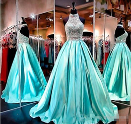 High Pictures NZ - High Neck Ball Gowns 2019 Evening Dresses Sheer Sleeveless Low Back Real Pictures Formal Gowns with Sparkly Beading Crystals Rhinestones