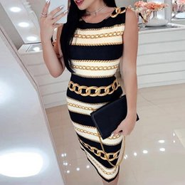Sexy chain letterS online shopping - 2019 New Fashion Chain Print Round Neck Dress Sexy Tight Sleeveless Ladies Long Dress MX190727