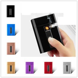 $enCountryForm.capitalKeyWord Australia - Newest USB Electronic Cigarette Case Box Storage With Lighter 20pcs Cigarette Holder USB Charging Lighter Gadgets 8 Color Magnet Switch Gift