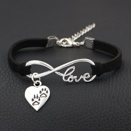 $enCountryForm.capitalKeyWord Australia - 2019 New Arrival Double Dog Paw Prints Charms Bracelet & Bangles Antique Silver Infinity Love Black Leather Suede Cuff Jewelry For Women Men