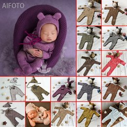 $enCountryForm.capitalKeyWord Australia - Newborn Baby Girl Boy Photography Props Cute Cheap Knit Romper + Hats Photo Shoot Prop Accessories Winter White Clothes Rompers Q190521