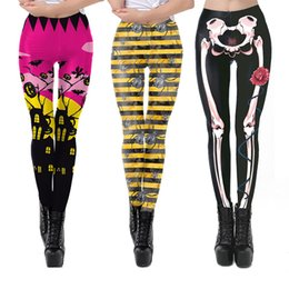 Wholesale cosplay white tights resale online - Women New Leggings Colors Halloween Ghost Skull Pumpkin Printed Pants Ladies Girl Cosplay Legging Fashion Fitness Sports Tight Pants