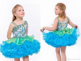 $enCountryForm.capitalKeyWord Australia - Cute Little Baby Short Girl Pageant Dresses With Bow Beadings Glitz Children Ball Gowns Infant Cupcake Kids Prom Communion Dresses