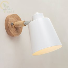 home wall lighting NZ - Wooden Wall lights bedside wall Lamp Modern Sconce for bedroom Nordic 6 color Macaroon steering Head E27 Home Lighting