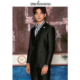Korea Brand Clothes Australia - OSCN7 2019 Double-breasted Peak Lapel Korea Customize Suits Brand Clothing Slim Fit Leisure Tailor Made Mens Suit E-WT-0014-70