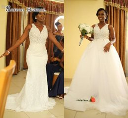See Through Wedding Dress Crystal Beading UK - White Mermaid Wedding Dresses With Detachable Train V Neck See Through Appliques Beads African Garden Country Bridal Gowns Plus Size 2019