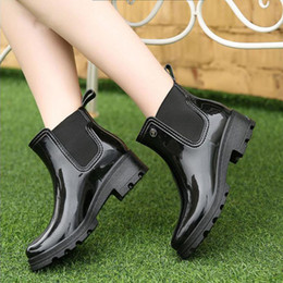 $enCountryForm.capitalKeyWord Australia - Hot Sale-Women Rain Boots Ladies Elastic Band Solid Ankle Rubber Flat Heel Waterproof Charm Rainboots 2016 New Fashion Design PVC Fashion