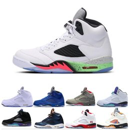 3cbe765bb06b Discount sneaker 5 5s man basketball shoes OG Black Metallic space jam fire  red Blue Suede White Cement trainers sports Sneakers size 8-13