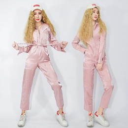 Hip Hop Nightclub Stage Wear NZ - Stage Costumes For Singers Hip Hop Clothing Women Pink Long Sleeve Jumpsuit Girls Nightclub Rave Outfit Performance Wear DN3107