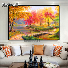 tree scenery paintings UK - wholesale Landscape yellow red tree Scenery Beaded Embroidery Painting Forest Paintin TT614g DIY 3D Mosaic Drawings art