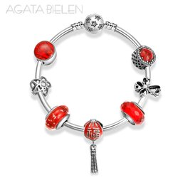Finished silver chains online shopping - 925 Sterling Silver Meaning blessing Chinese red Red series finished bracelet Fashion Women s Charm Bracelet Jewelry