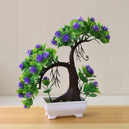 Discount small bonsai pots - Small Tree Ornaments Wedding Hotel Home Artificial Plants Party Supplies Garden Fake Flower Decoration Bonsai Potted Des