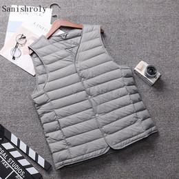 Wholesale male plus size down vest for sale - Group buy Sanishroly Autumn Winter Men Duck Down Vest Coat Ultra Light Down Vest Jacket Male Sleeveless Waistcoat Plus Size XL SE947
