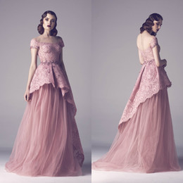 $enCountryForm.capitalKeyWord NZ - Dust Pink Long Prom Dresses Fadwa Baalbaki Lace Scoop Neck Beaded Evening Dress with Peplum Appliqued Formal Party Dresses Cheap