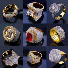 venda por atacado Bling para fora congelado anéis de ouro Mens Hip Hop Jóias fresco CZ Stone Luxo Deisnger Homens Hiphop Anéis